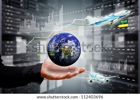 Smart hand take control the digital world : Elements of this image furnished by NASA - stock photo