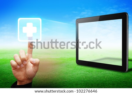 Smart hand touch First Aid icon from touchpad - stock photo