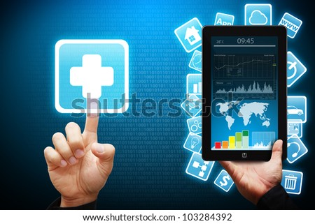 Smart hand touch on First Aid icon from tablet computer - stock photo