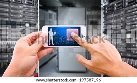 Smart hand touch on power button on smart phone - stock photo