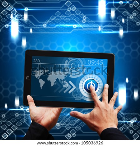 Smart hand touch on tablet computer and digital layout - stock photo