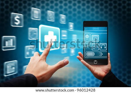 Smart hand touch the First Aid icon from mobile phone - stock photo