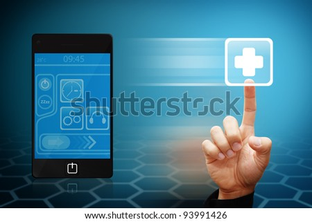 Smart hand touch the First Aid sign from mobile phone - stock photo