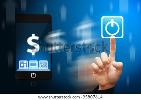 Smart hand touch the Power icon from mobile phone