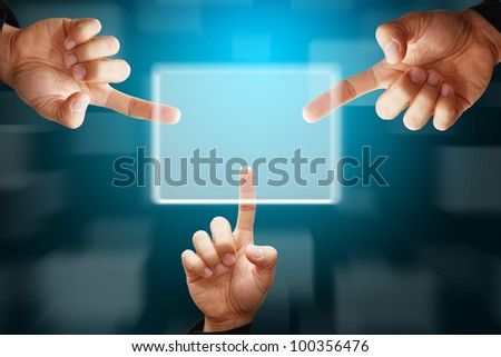 Smart hands touch the windows icon