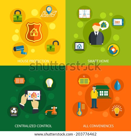 Smart home concept flat icons set of house security protection mobile energy automation control system and climate temperature monitoring for infographics design web elements  illustration - stock photo