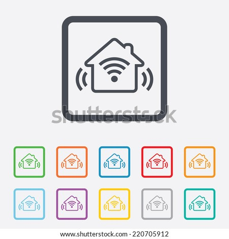 Smart home sign icon. Smart house button. Remote control. Round squares buttons with frame.