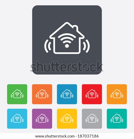 Smart home sign icon. Smart house button. Remote control. Rounded squares 11 buttons.