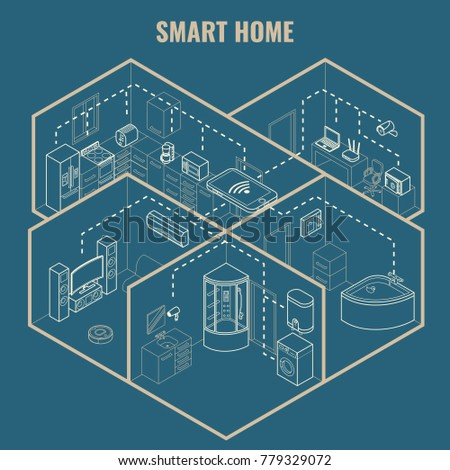 Smart house concept 3 d isometric blueprint stock illustration smart house concept 3d isometric blueprint illustration cutaway home interior with smart phone controlled household malvernweather Choice Image