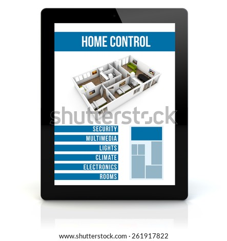 smart house concept: render of a tablet pc with remote home control app on the screen - stock photo