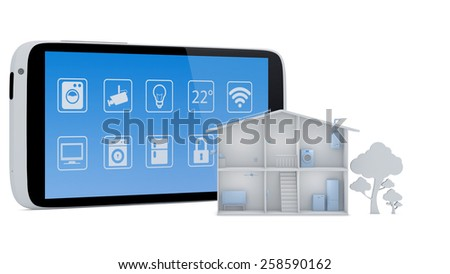 Smart house concept with smartphone app control panel - 3D Render - stock photo