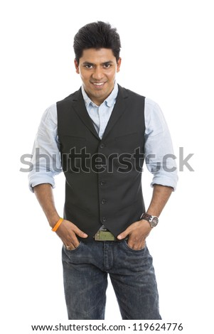 Smart Indian young businessman looking to the camera. - stock photo