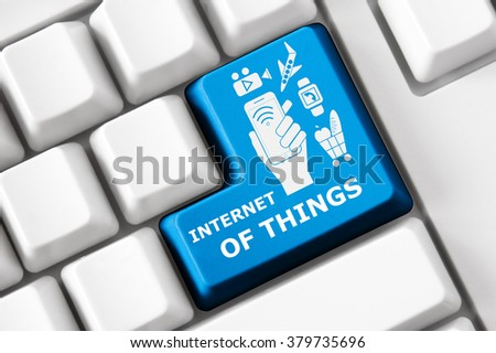 Smart keyboard with internet of things symbol set. Smart clock icon, shopping icon, aircraft tickets icon, video and photo goods icon - stock photo