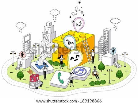 smart life and SNS life - stock photo