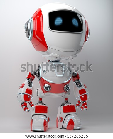 Smart little cyber toy in white-red colors - stock photo