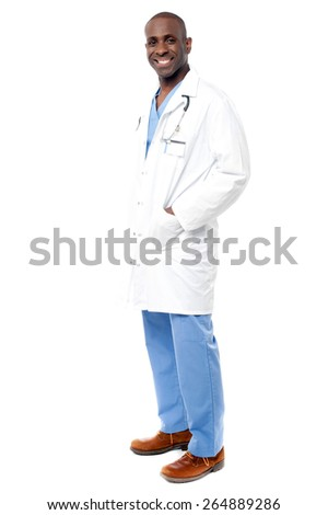 Smart male doctor standing, isolated on white - stock photo