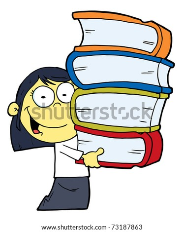 Smart Oriental School Girl Carrying A Stack Of Books - stock photo