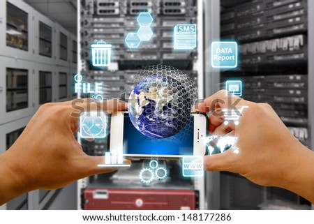 Smart phone and digital world : Elements of this image furnished by NASA  - stock photo