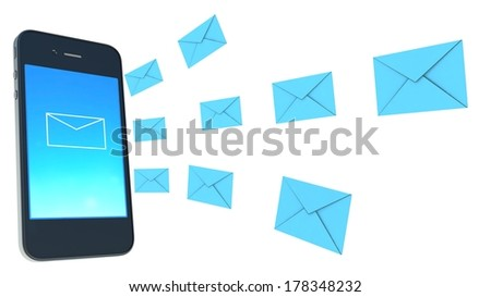 Smart phone and envelope - sms and mail concept