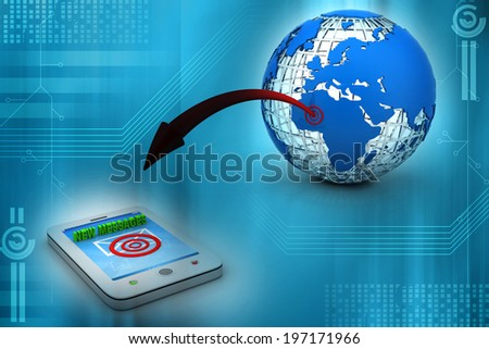 smart phone and international globe with target sign