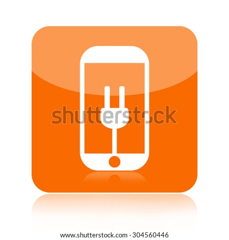 Smart phone and power plug icon - stock photo