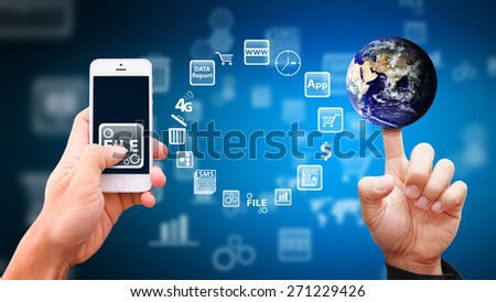 Smart phone and technology background - stock photo