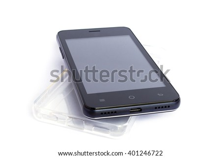 smart phone and transparent case on white background