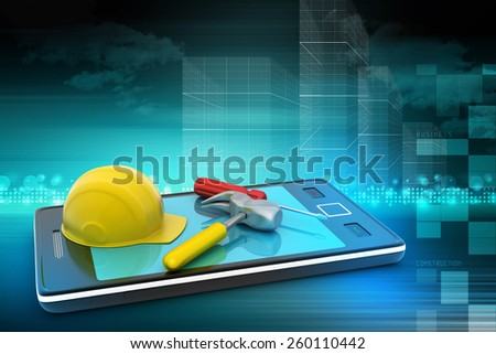 Smart phone and under construction sign   - stock photo