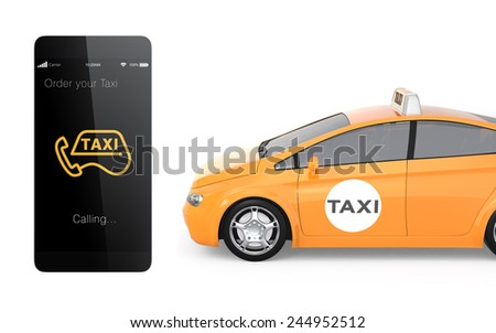 Smart phone and yellow taxi isolated on white background. Concept for taxi order system for smart phone. - stock photo