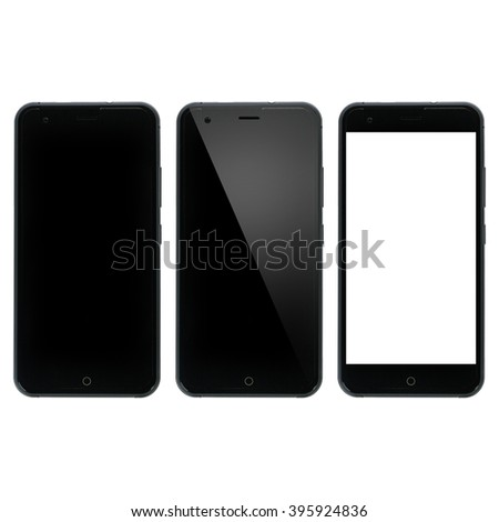 Smart phone blank. Smartphone with blank display. Three variations isolated on white background - stock photo