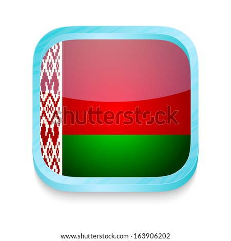 Smart phone button with Belarus flag - stock photo
