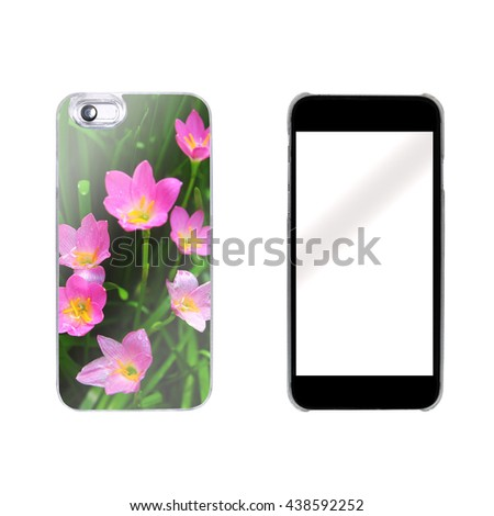 smart phone case protcetion with nature photo - stock photo