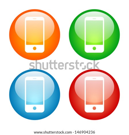 Smart Phone Cell Phone Icon Colorful Glass Icon Set. Raster version, vector also available. - stock photo