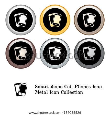 Smart Phone Cell Phone Icon Metal Icon Set. Raster version. - stock photo