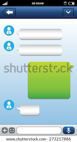 Smart phone chat bubbles with blank text. Sms messages. Speech bubbles. Short message service bubbles. - stock photo