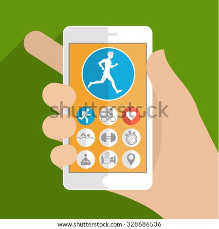 Smart phone in hand. Fitness app concept on touchscreen. Flat design.