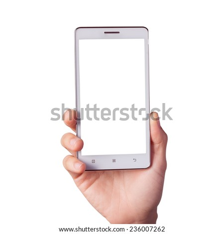smart phone, in hand isolated on white - stock photo