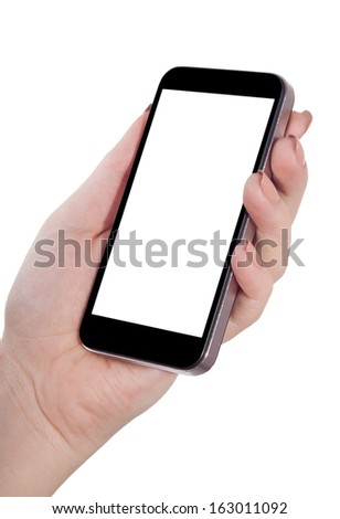 smart phone in hand isolated white background - stock photo