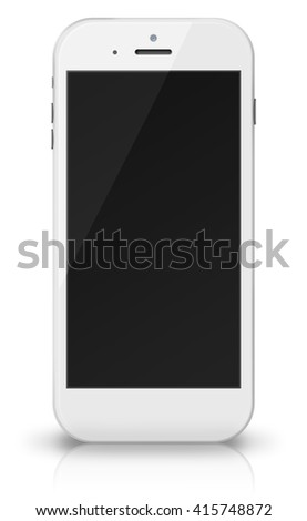 Smart phone in iphon style with black screen, shadows and reflections isolated on white background. 3D illustration.
