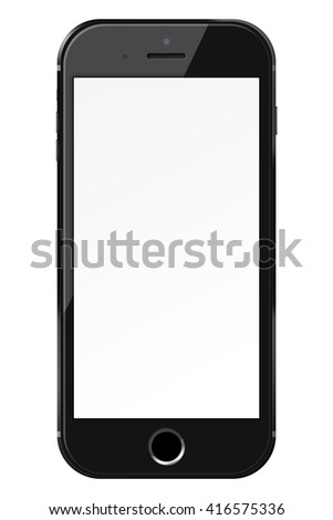 Smart phone in iphon style with blank screen isolated on white background. 3D illustration.