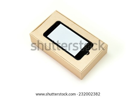 Smart Phone In Packaging Box On White Background - stock photo