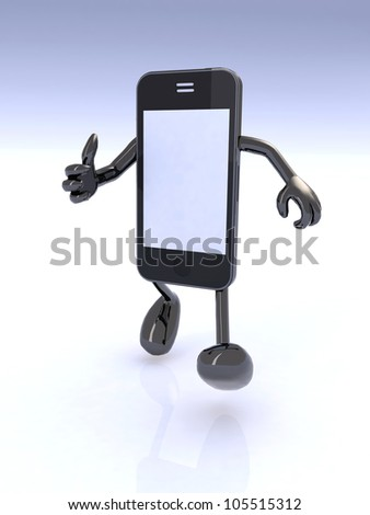 smart phone man character giving a thumbs up, 3d illustration