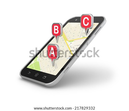 Smart phone mobile navigation and map 3d illustration.