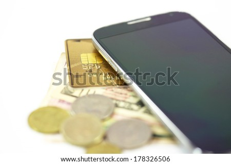 smart phone money credit card payment concept - stock photo
