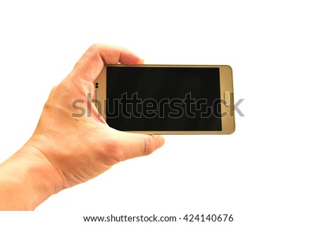 Smart phone on hand prepared to take a photograph with isolated white background (Studio light) - stock photo