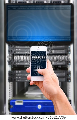 Smart phone on network background  - stock photo