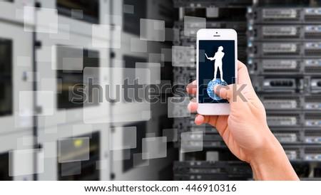 Smart phone on network background - stock photo