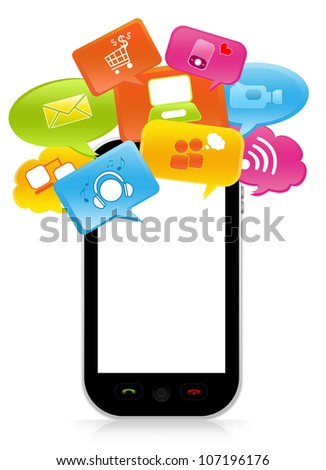 Smart Phone Social Media Concept With Some Space For Text Message on Screen Isolate on White Background - stock photo