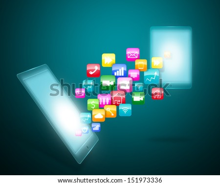 Smart phone touchscreen with cloud of application icons