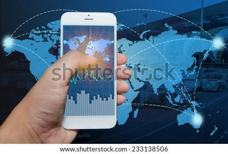 Smart phone view Business shipment graph. - stock photo